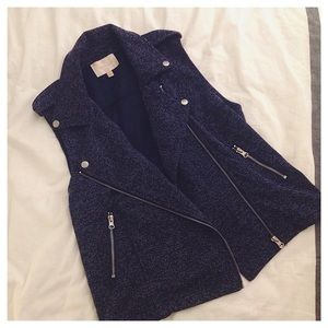 Skies Are Blue Marled Knit Moto Vest